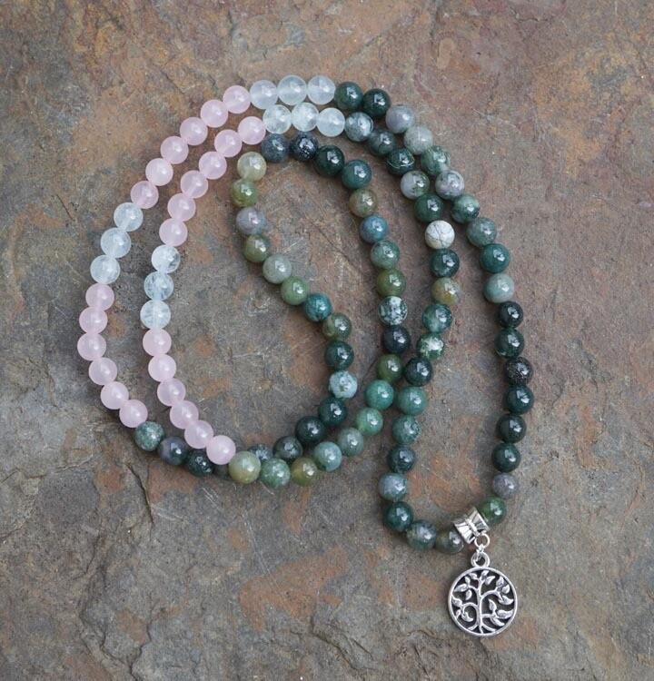108 Prayer Beads in Rose Quartz, Aquamarine and Moss Agate