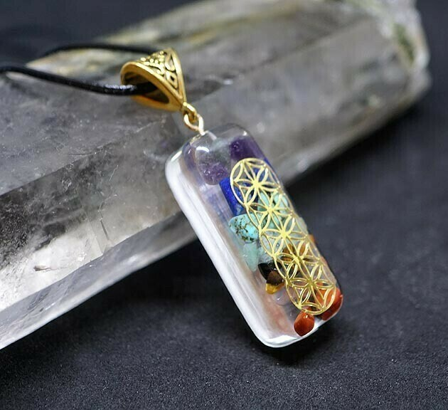Orgone Chakra and Flower of Life Pendant