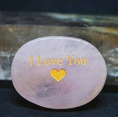 I Love You Palm Stone in Rose Quartz