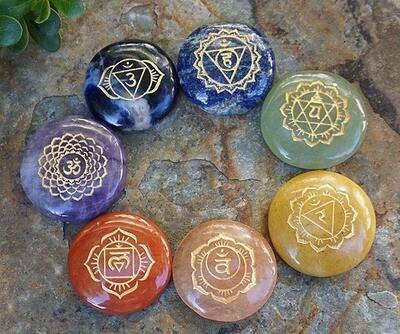 Chakra  Stone Set with Sanskrit Symbols