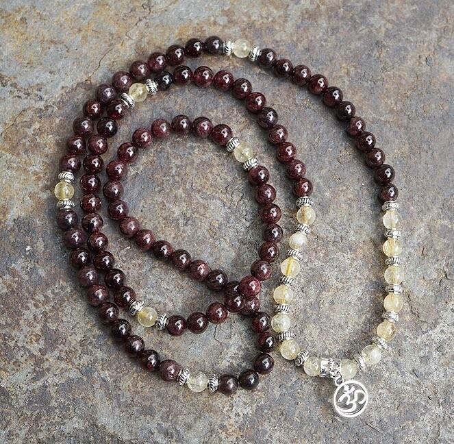 108 Prayer Beads in Garnet and Citrine