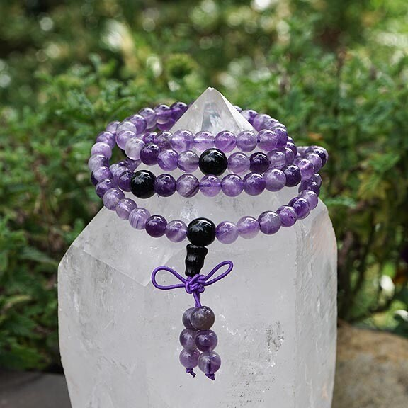 108 Prayer Beads in Amethyst and Obsidian
