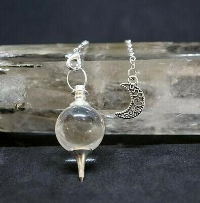 Moon in Clear Quartz Pendulum