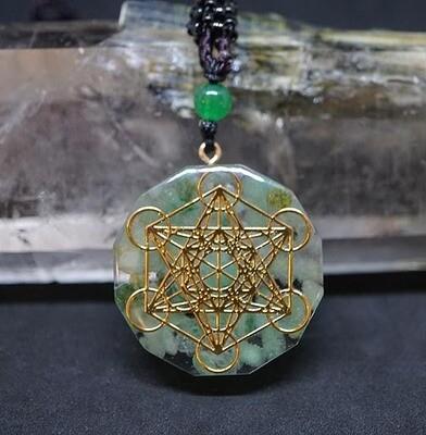Orgone Metatron Pendant in Green Aventurine