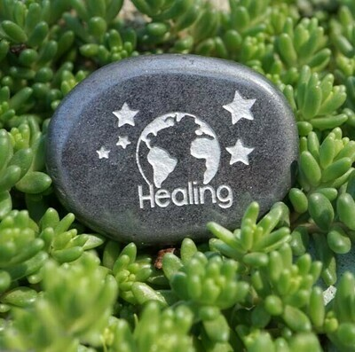 Healing Palm Stone in Hematite