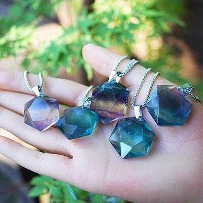 Rainbow Fluorite Hexagonal Pendants