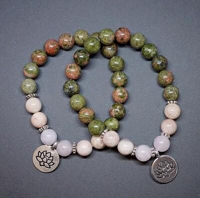 Unakite, Sakura and Rose Quartz Bracelets