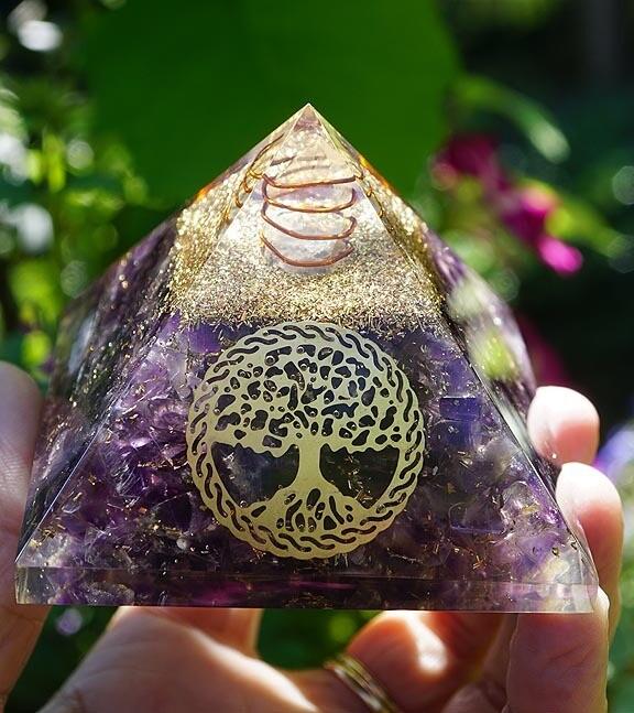 Amethyst Tree of Life Orgone Pyramid