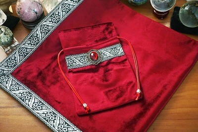 Red Tarot Bag with table cloth