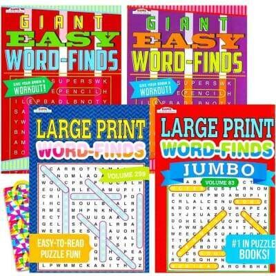 Word Search Puzzle Book Bundle (4-Pack Bundle) Easy-to-Read Large Print