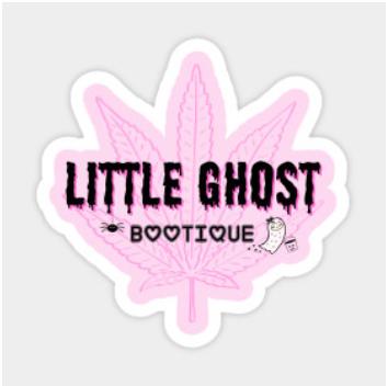 Little Ghost w/Pink Leaf Vinyl Sticker