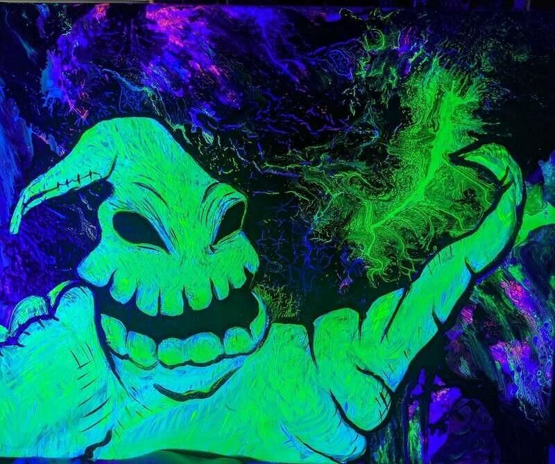 Oogie Boogie Black Light (UV Reactive) Water Pipe Art