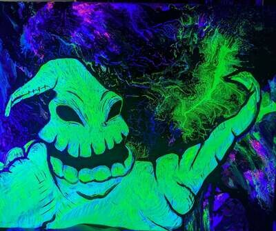 Oogie Boogie Black Light (UV Reactive) Water Pipe Art