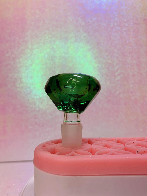 Green Crystal Cut 14mm Male Glass Bowl