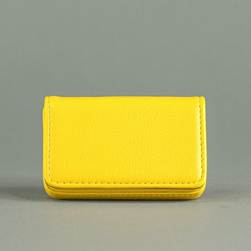 Карманная визитница из эко-кожи. Цвет Yellow