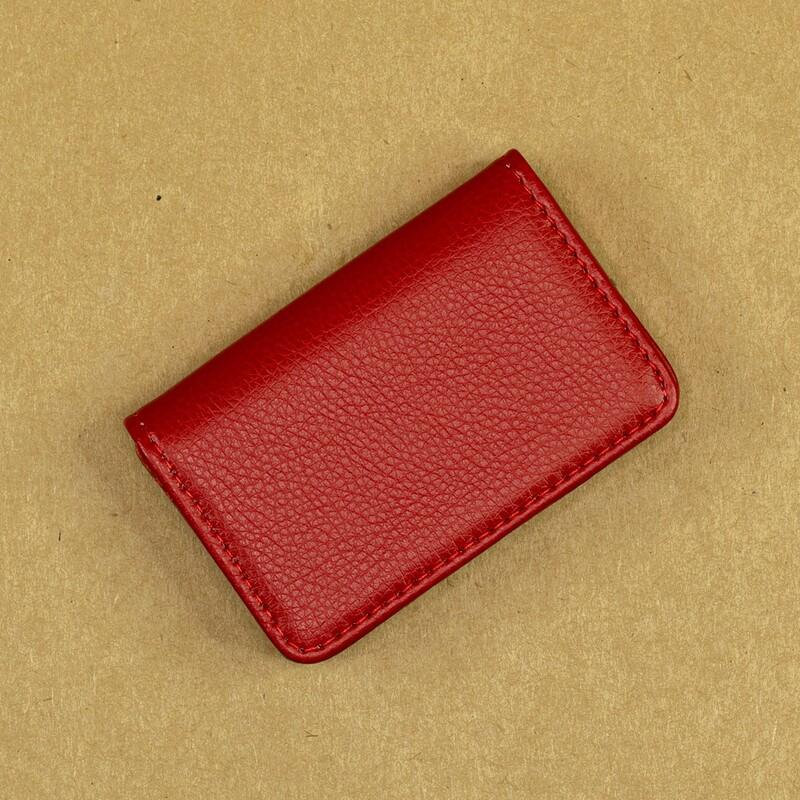 Карманная визитница из эко-кожи. Цвет RED
