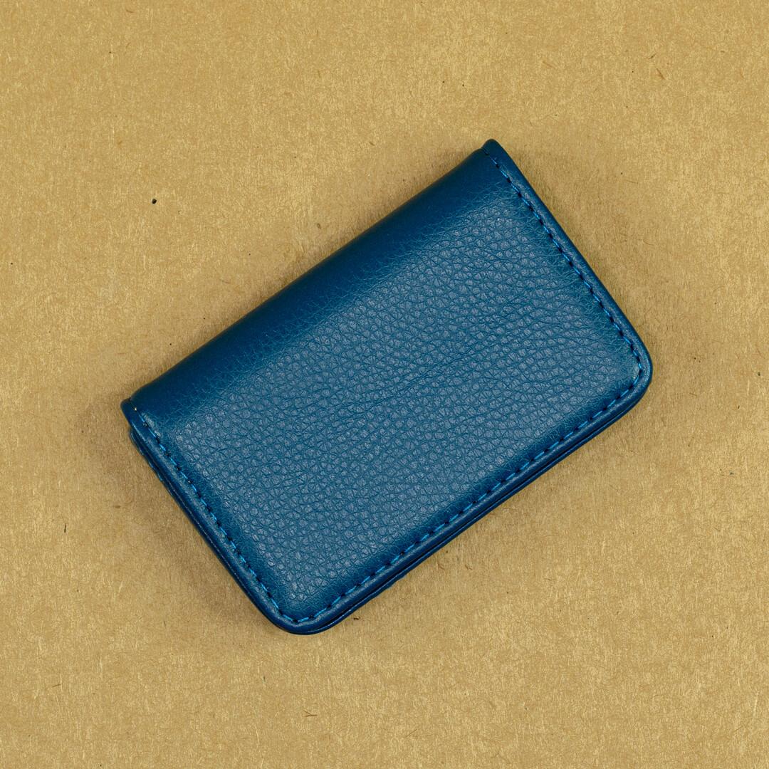 Карманная визитница из эко-кожи. Цвет Blue.