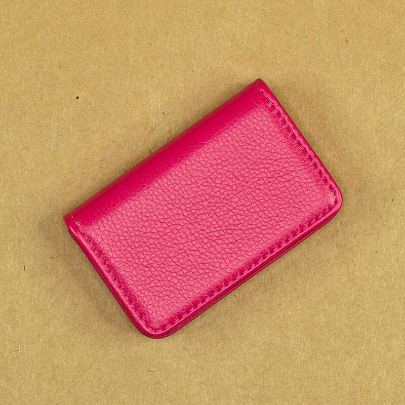 Карманная визитница из эко-кожи. Цвет PINK