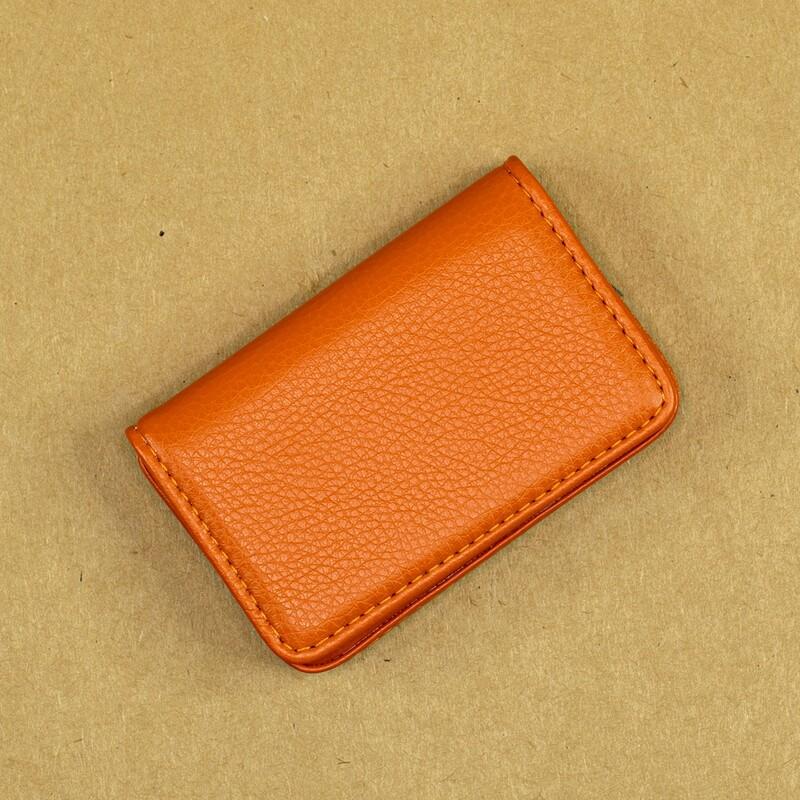 Карманная визитница из эко-кожи. Цвет оранж