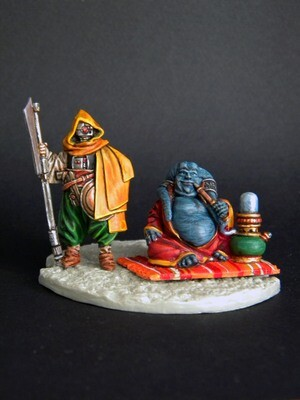 Merchant and bodyguard 2 miniatures
