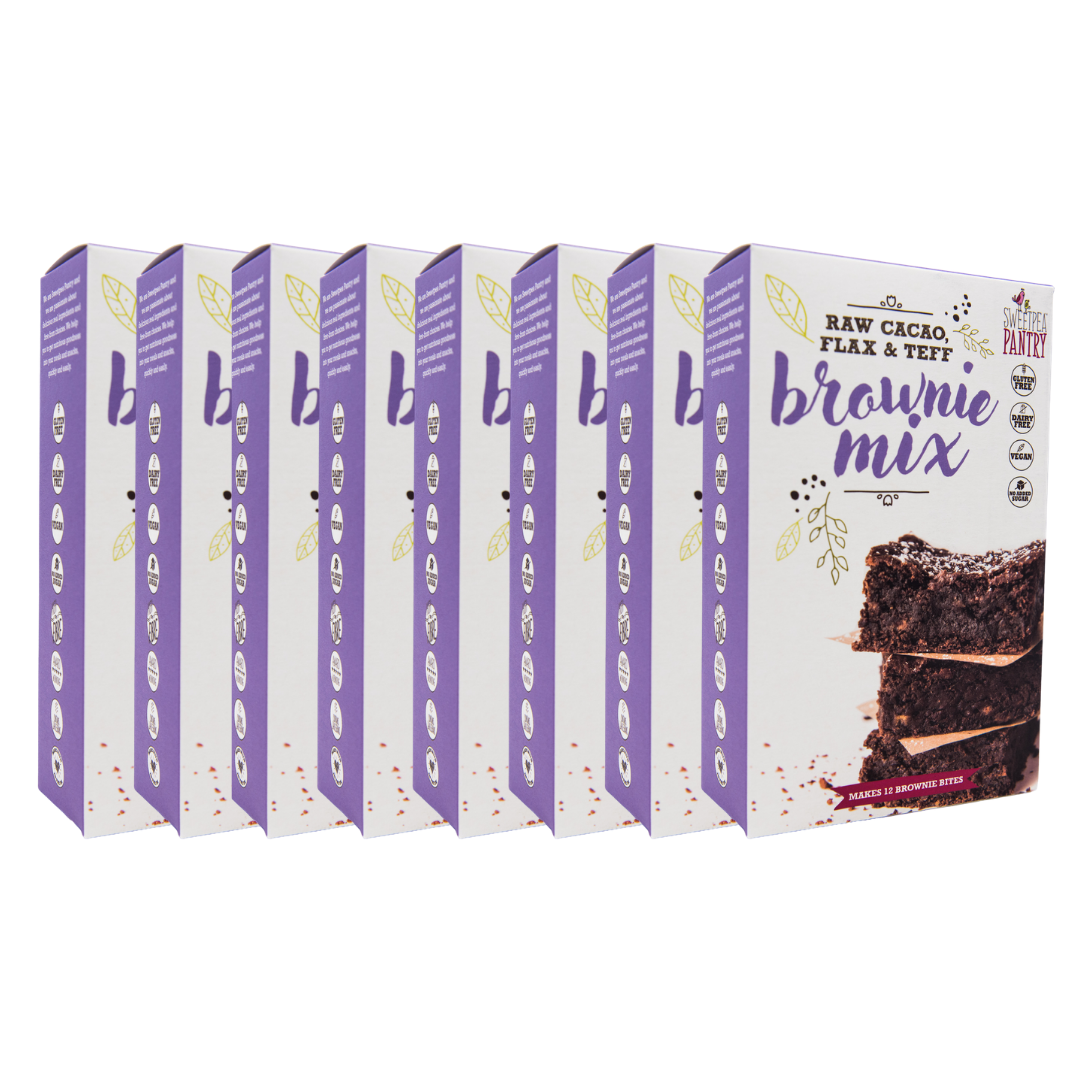 Case of 8 - Brownie Mix with raw cacao, teff and flax (gluten free). FREE Shipping