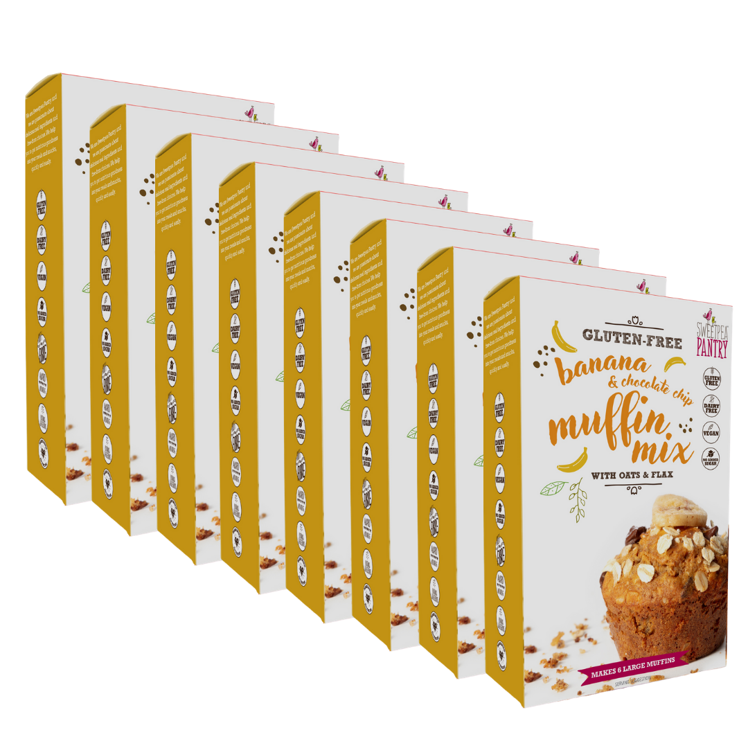 NEW! Case of 8 - Banana and Chocolate Chip Muffin Mix with oats and flax (gluten-free) FREE Shipping