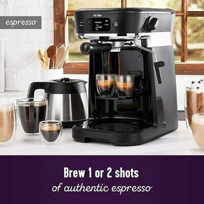 All-in- One Occasions - Cafetera térmica para 10 tazas y café espresso con espumador de leche y bandeja de almacenamiento