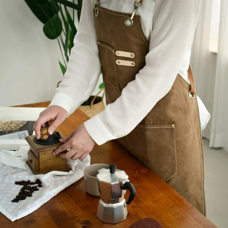 MANDIL de lona de algodón, ajustable, con bolsillos para mujeres y hombres en color cocoa claro