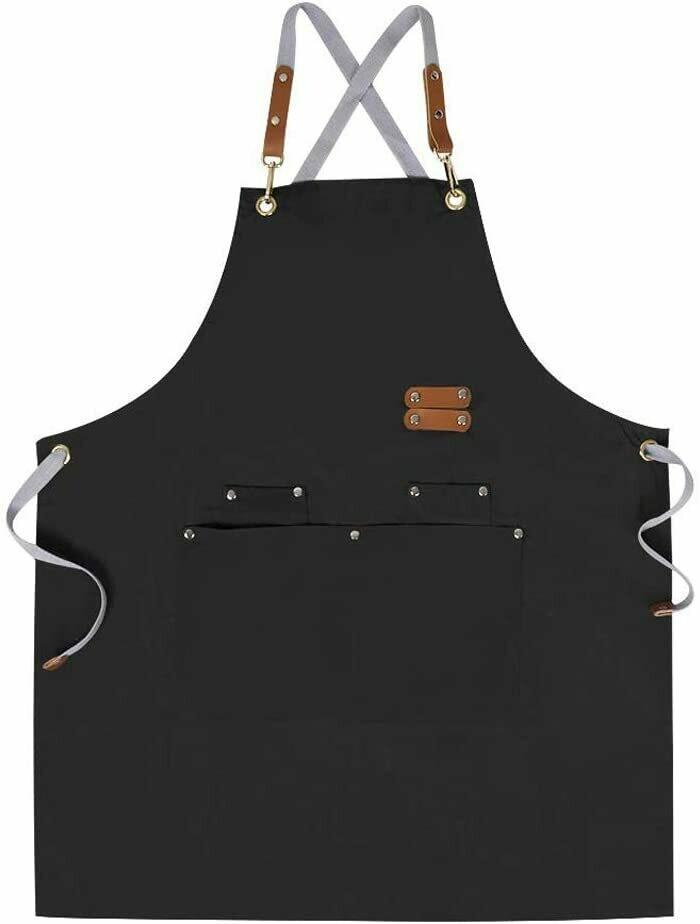 MANDIL de lona de algodón apron, ajustable, con bolsillos para mujeres y hombres en color negro