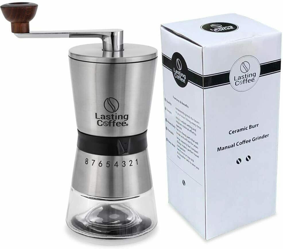 Molino de café, acero inox y recipientes de vidrio.