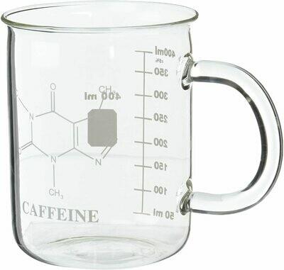 Taza de vidrio con moléculas de cafeína