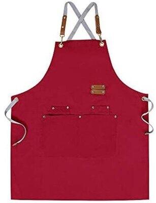 MANDIL de lona de algodón apron, ajustable, con bolsillos para mujeres y hombres en color Rosada