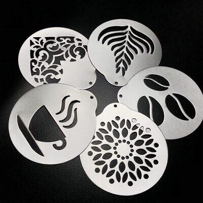Plantillas de café, Plantillas de Impresión de Café, Barista Cappuccino Artes (acero)