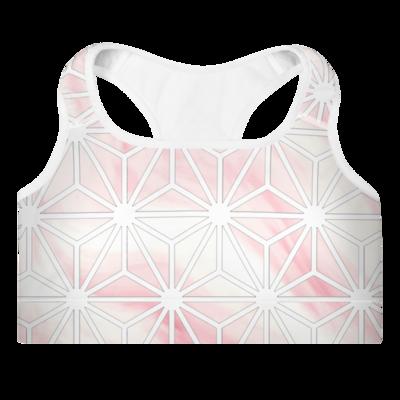 Pink Geometric Sports Bra