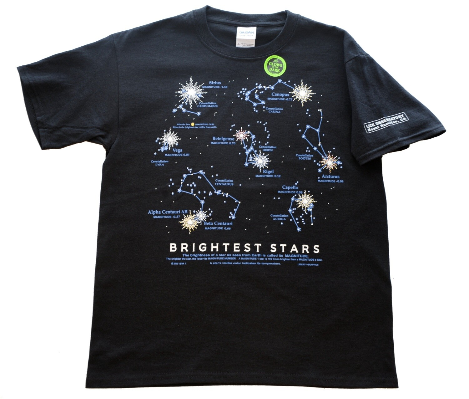 Brightest Stars T-Shirt for Adults and Kids -- Glows in the Dark!