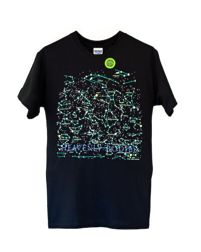 Heavenly Bodies T-Shirt for Adults and Kids -- Glows in the Dark, Front and Back!