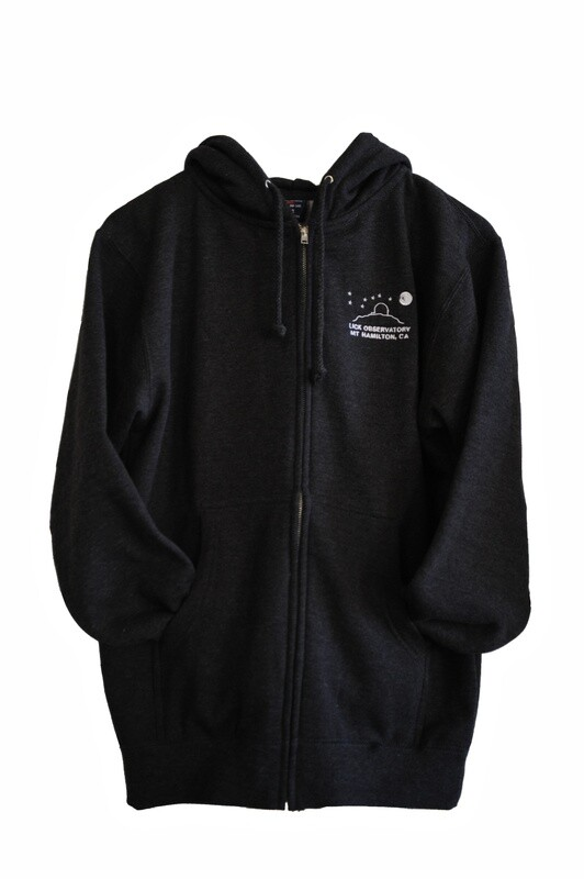 Lick Observatory Hoodie Full-Zip Sweatshirt, Charcoal White Logo