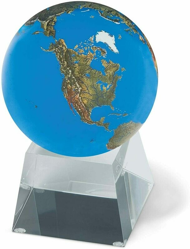 Aqua Crystal Sphere with Natural Earth Continents with Tapered Glass Spinning Base, 3 Inch Diameter