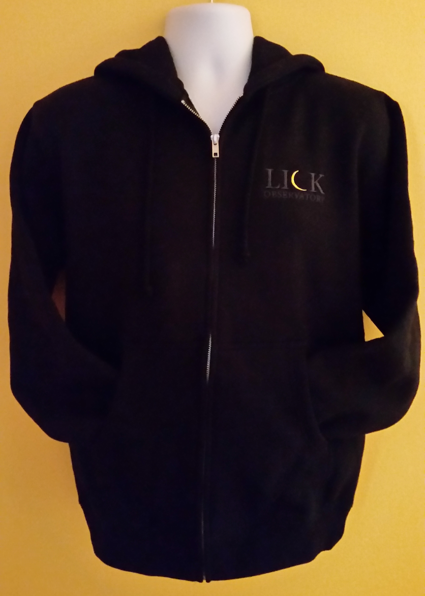 Lick Observatory Hoodie Full Zip Sweatshirt, Tone-on-Tone Black Logo