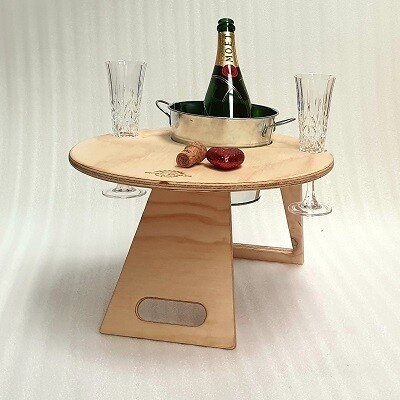 Picnic Table - Chill Folding Wine Table with Ice Bucket – Round Natural