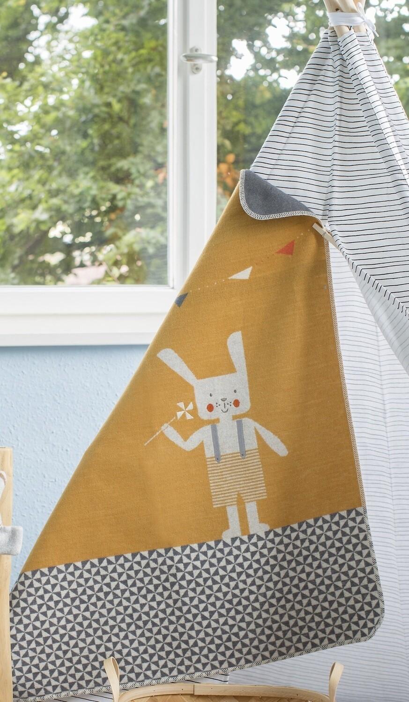 Gold Bunny Rabbit Juwel Bassinet Blanket