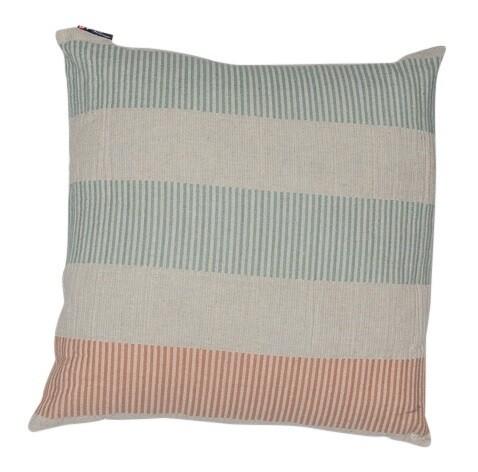 Light Green Fine Lines Lino Cushion