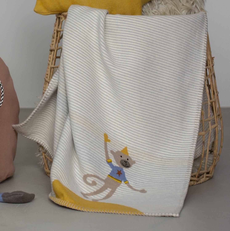 Light Blue Monkey Embroidered Lena Bassinet Blanket