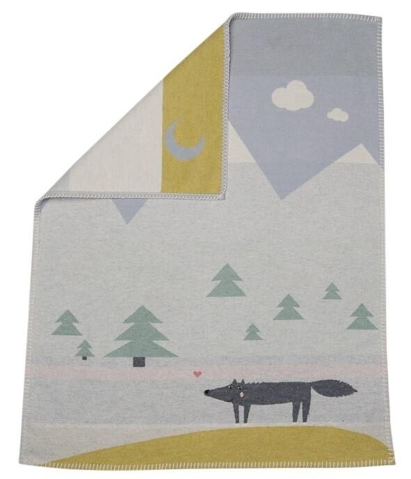 Light Blue Wolf Embroidered Lili Bassinet Blanket