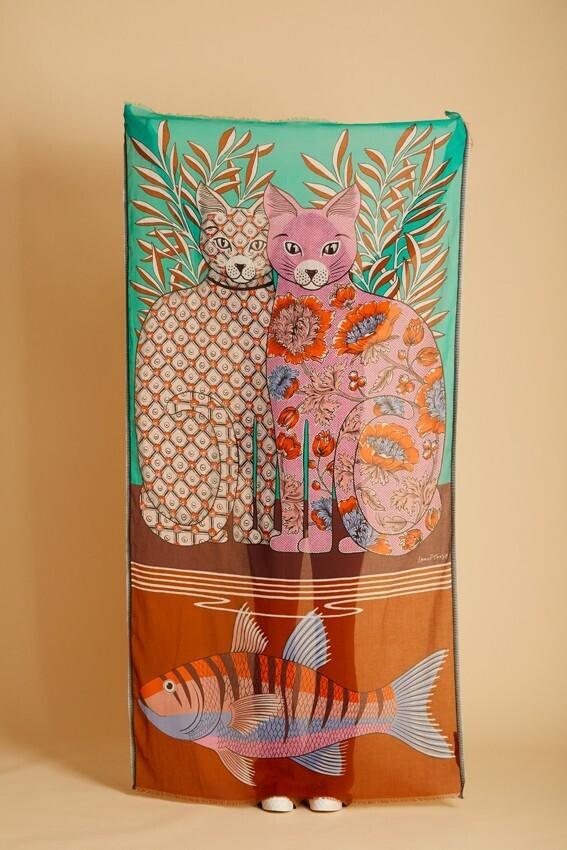 Inoui Scarf Adele and Lea Turquoise 100% Cotton