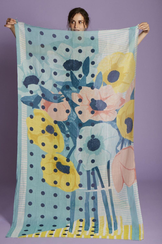 Inoui Scarf Nour - Sky Blue - 80% Cotton, 20% Silk