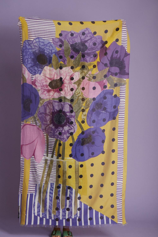 Inoui Scarf Nour - Purple - 80% Cotton, 20% Silk