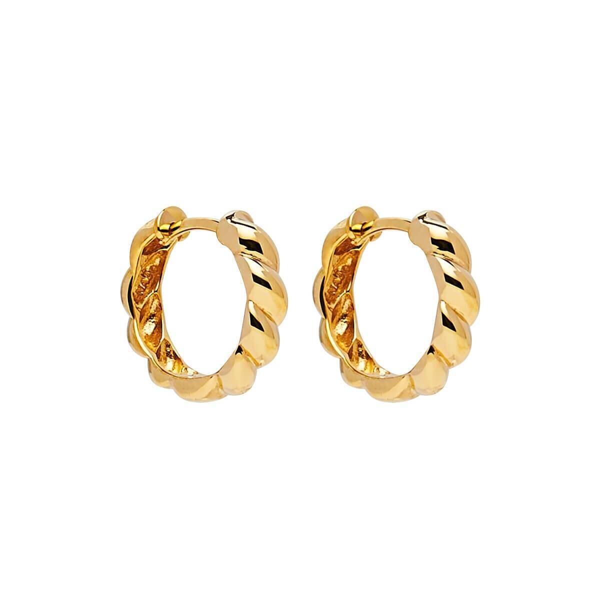 Najo - Zippy Twist Yellow Gold Huggie Earring