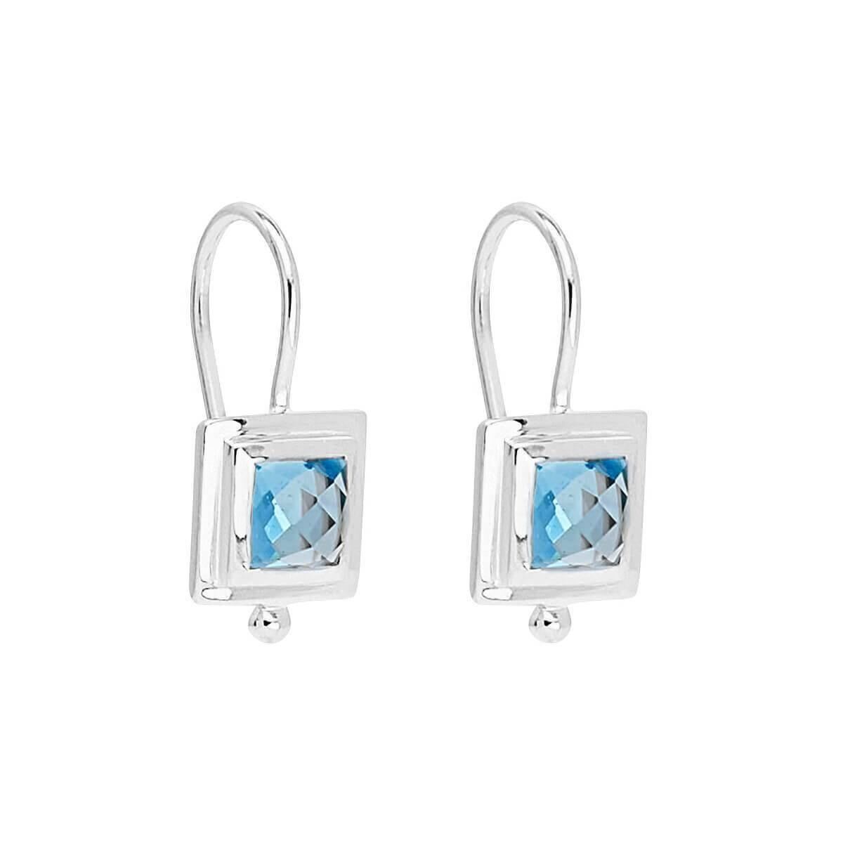 Najo - Desire Silver Square Blue Topaz Earring