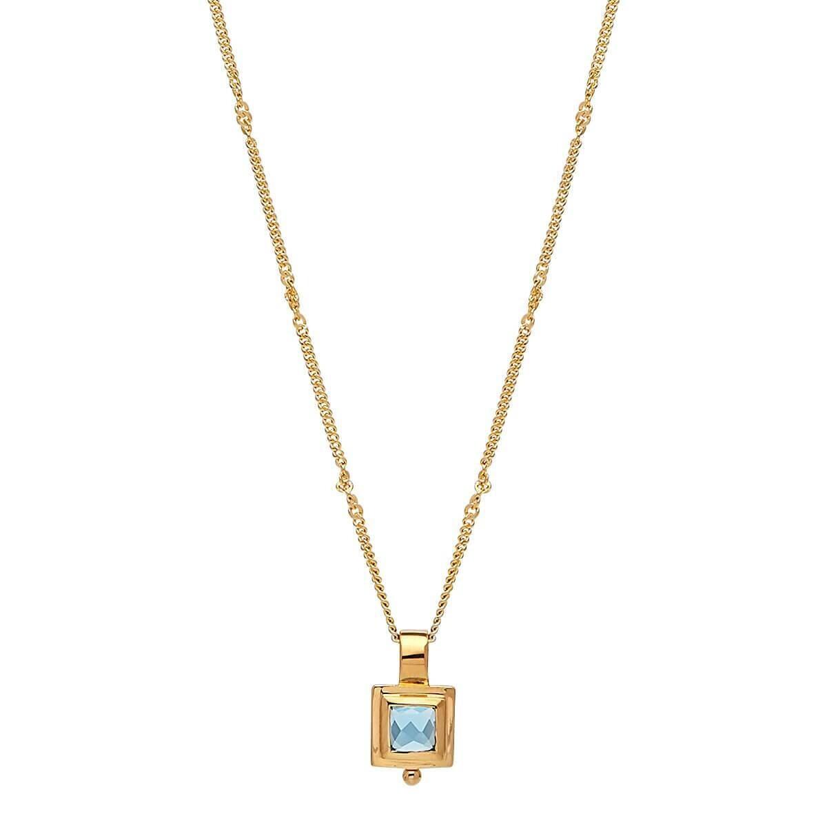 Najo - Desire Square Blue Topaz Necklace